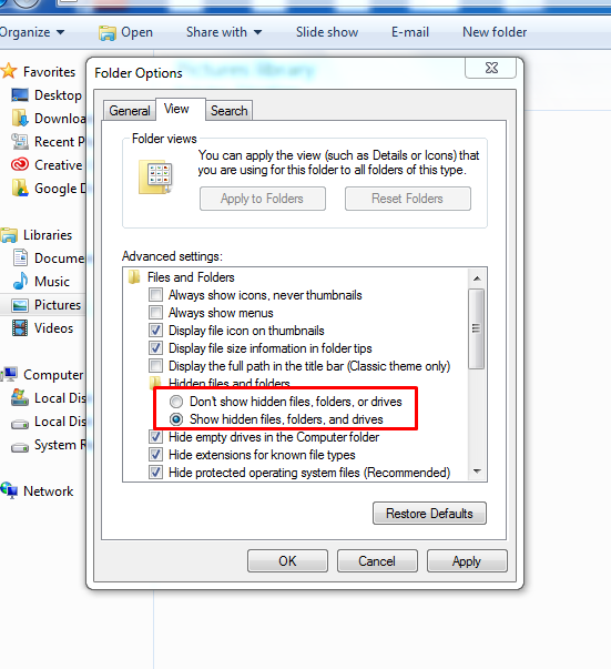 hide/show files in Windows 7