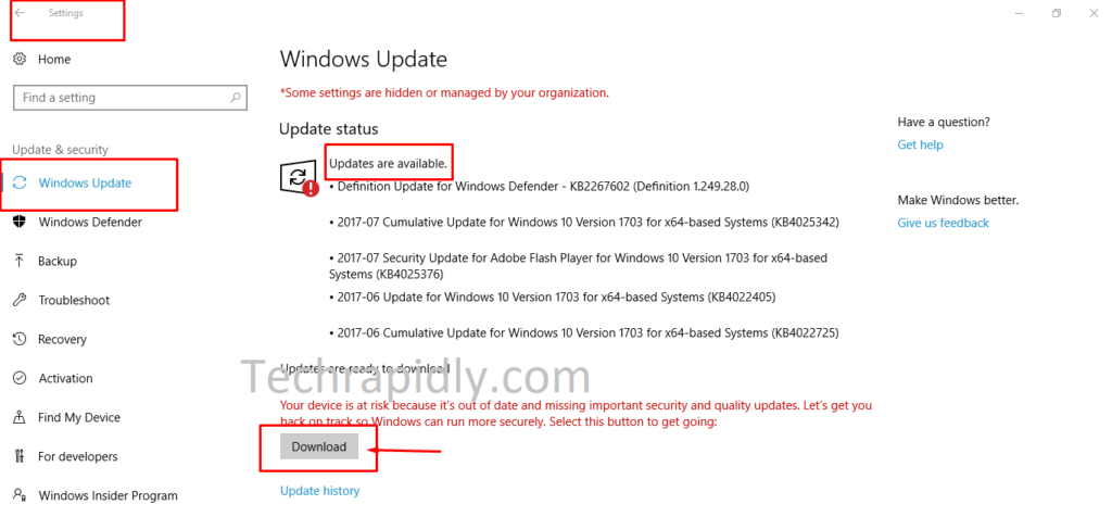 download and install Windows 10 updates