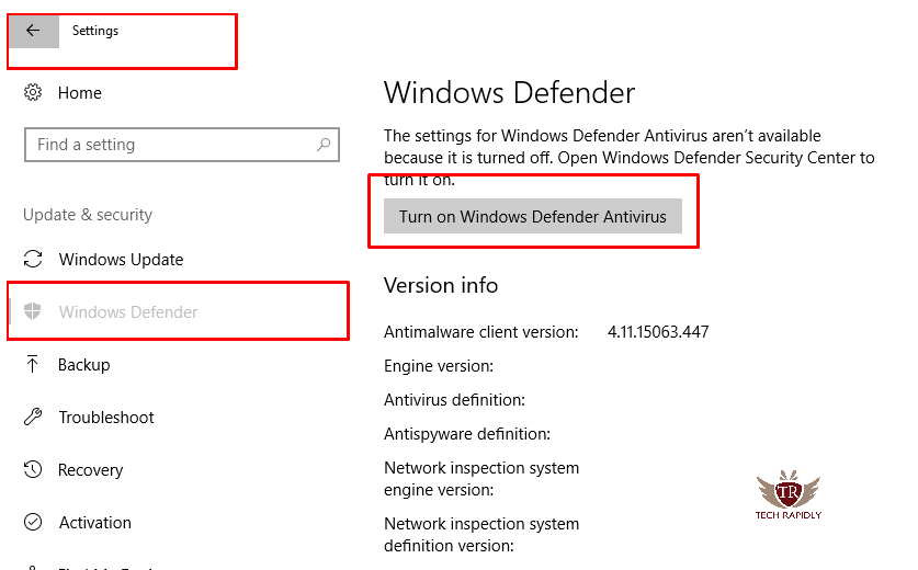 enable or Disable Microsoft Windows 10 defender
