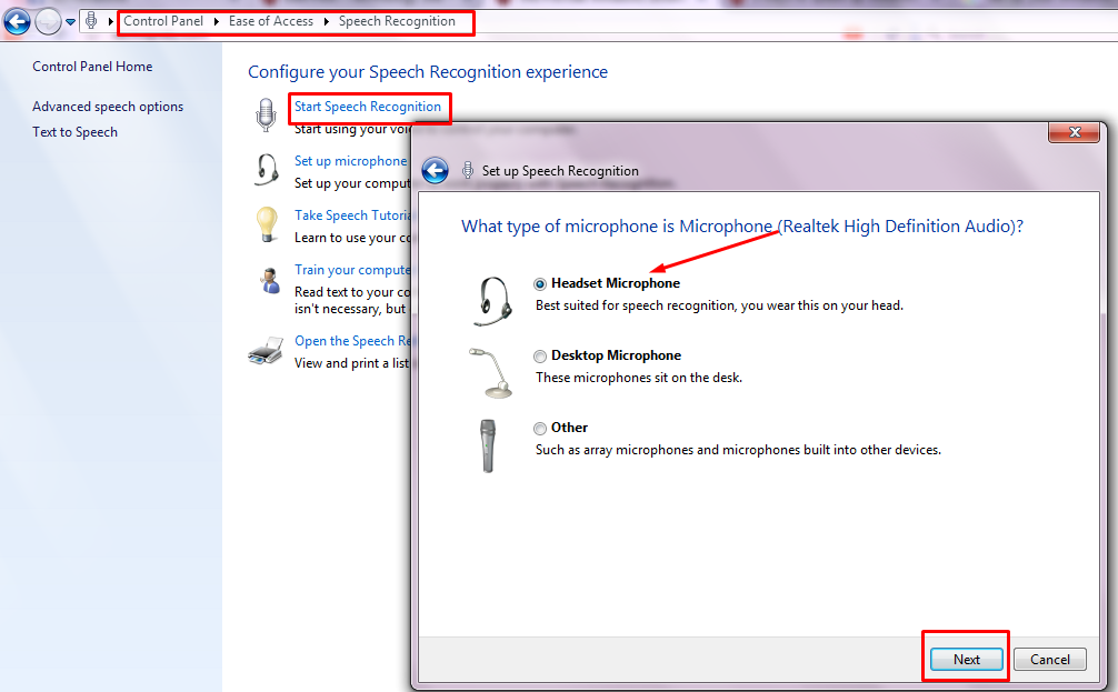 Set Up your Windows 7 with Speech Recognition