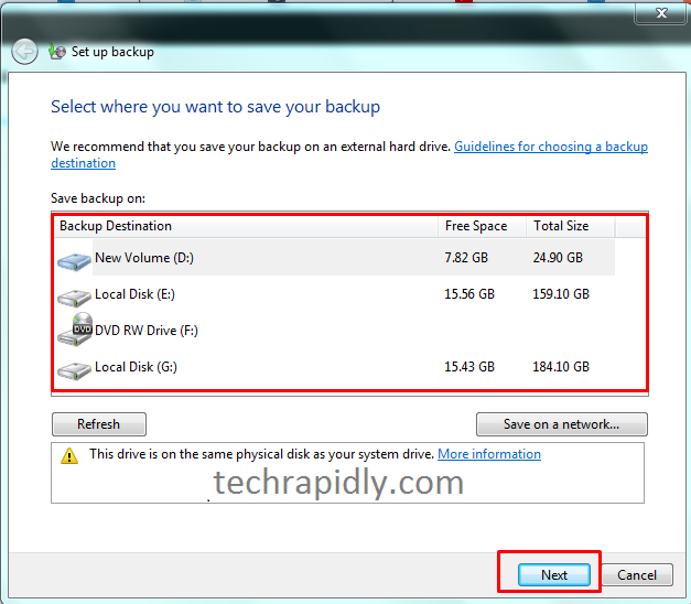 back up your files and folders in Windows 7