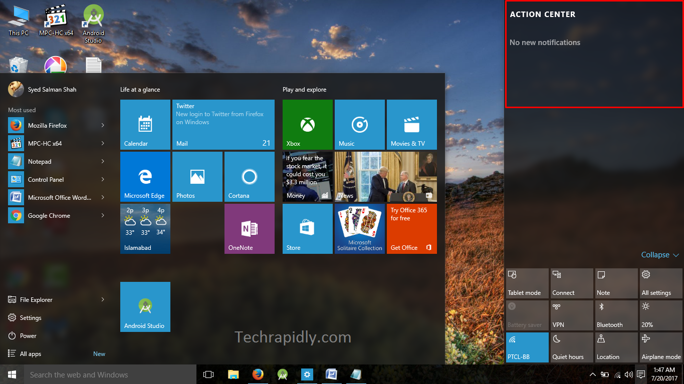enable or Disable the Action Center in Windows 10