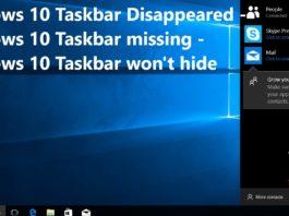 Windows 10 Taskbar Disappeared