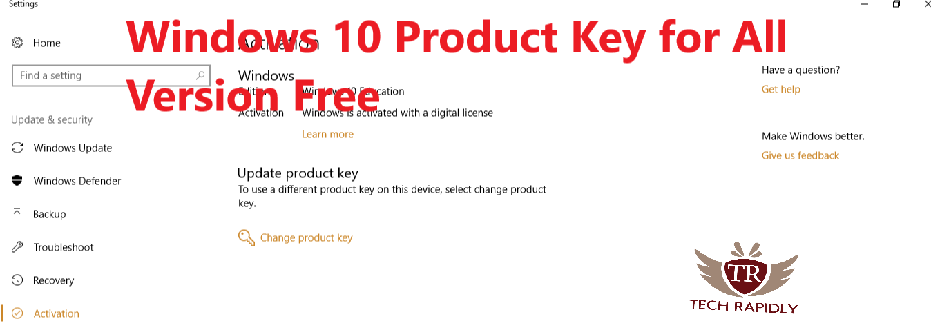 win 10 home free product key