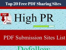 Top 20 Free PDF Sharing Sites 2019 Free PDF Submission Sites List 2019 High PR PDF DoFollow Sites